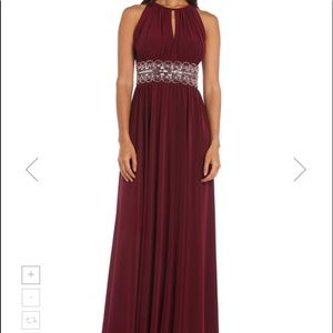 R&M Richards silver beaded waist burgundy gown